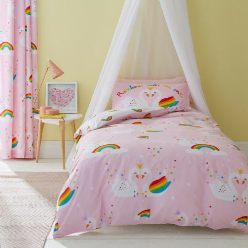 Catherine Lansfield Rainbow Swan Pink Bedding Set
